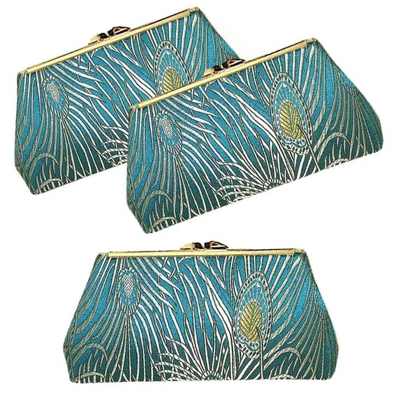 THREE BRIDESMAIDS CLUTCHES - TEAL Peacock Feathers  - PURE SILK LINING - FREE Custom Labels