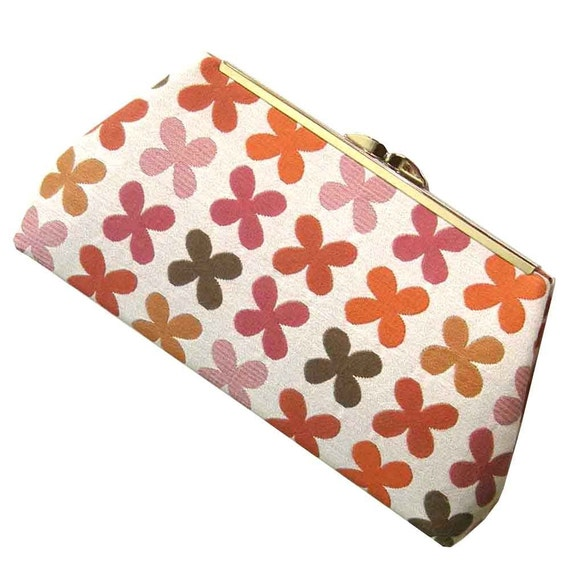 Clutch Modern Pink Orange Coral - Fabric by Mid-Century Designer Alexander Girard - Made to Order by UPSTYLE