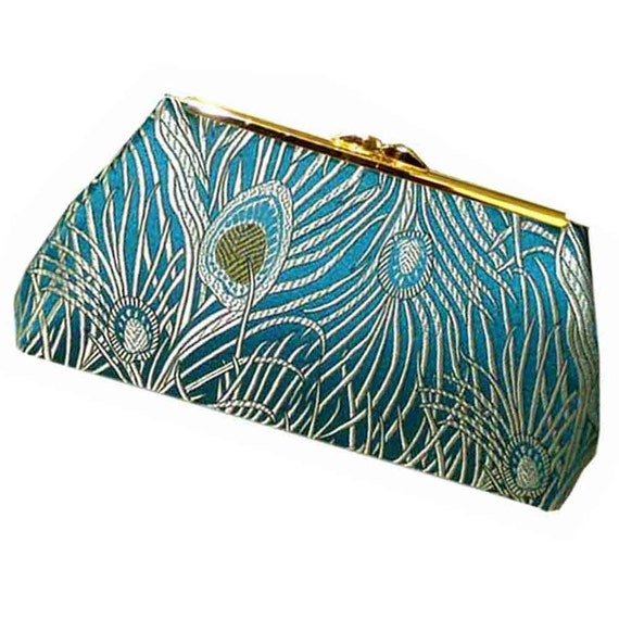LUXURY Clutch - Peacock Perfection - Antique Gold Silk Lining