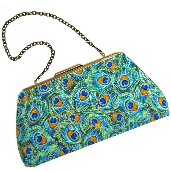 Peacock Fabric Clutch Purse with Chain
