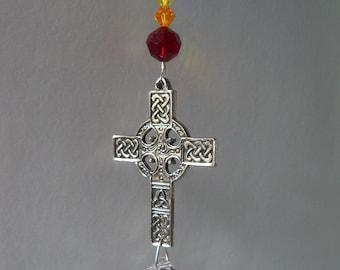 Swarovski Crystal Celtic Cross Suncatcher
