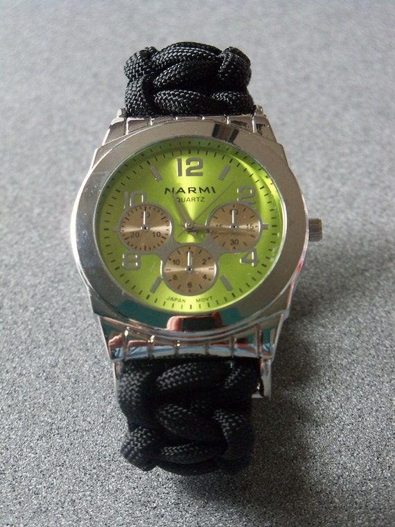 Black Paracord Hand Tied Mens Watch