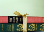 SALE Vintage Book Bundle Pink and Green