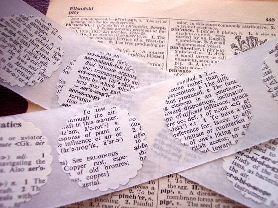 Vintage Dictionary Scalloped Circle Sticker Embellishments Envelope Seals