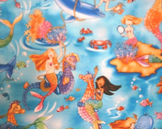 TWO Pieces MERMAIDS Seahorses Shells Fish Octopus DOLPHINS Mermaid Novelty Fabric Hard To Find