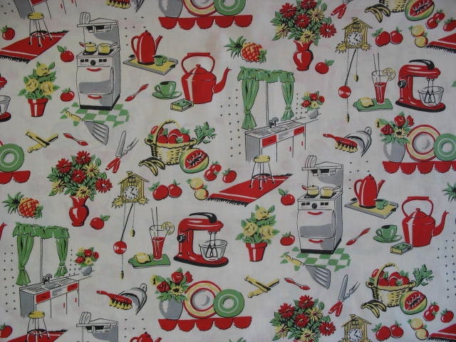 bty retro 1950s kitchen appliances decor vintage themed red