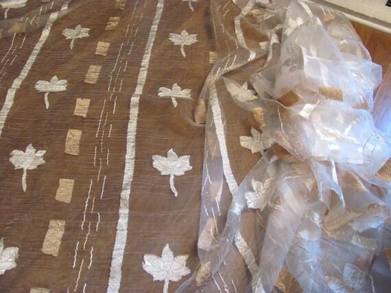 Sheer Fabric, Window Scarf, Curtains, Leaf Pattern