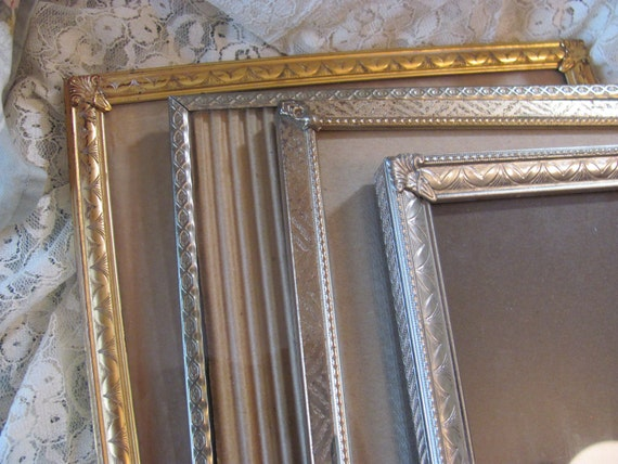 Lot of 4  Vintage Metal  Picture Frames, 8 by 10 Ornate Frames for Wall Arrangement, Gallery Collection