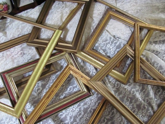 Instant Gallery Collection 9  Lot of  Older  Picture Frames, Spray White for Wall Decor