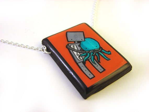 Robot Loves Octopus Necklace - Red
