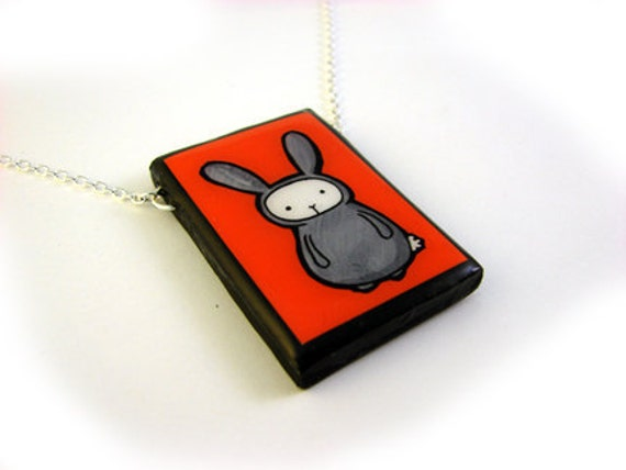 Large Red Bunny  Necklace