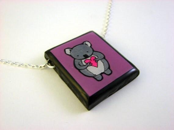 Purple Koala Necklace