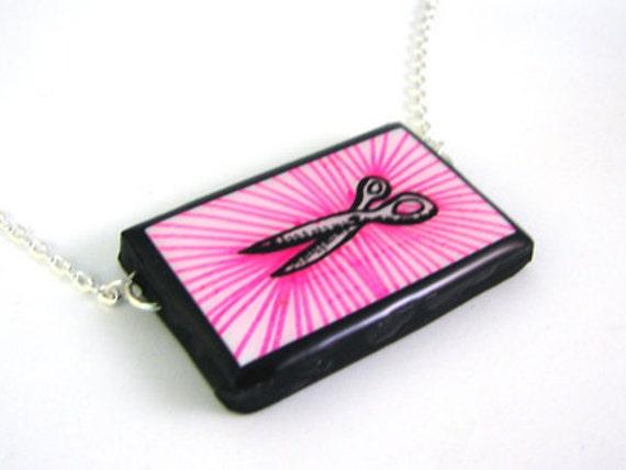 Pink Scissors Necklace