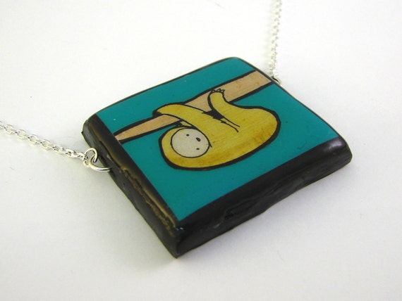 Teal Sloth Necklace