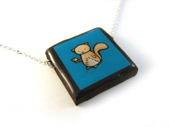 Teal Squirrel Necklace
