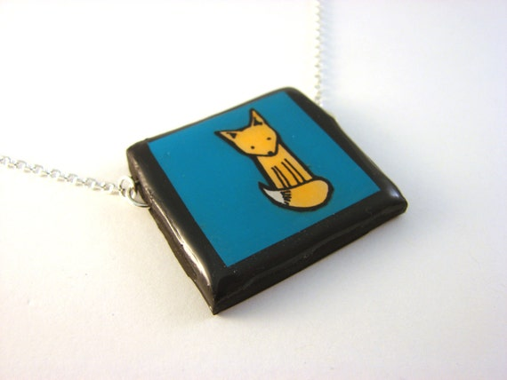 Teal Fox Necklace