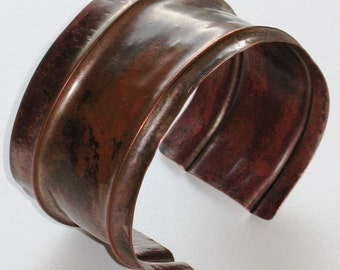 Copper Cuff Bracelet, Foldformed Metalwork, Metalsmith Jewelry Hand Forged by Penny's Treasures - Rustic