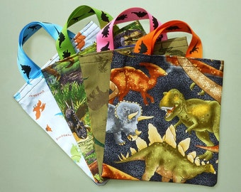 10 dinosaur party bags — dinosaur birthday party favor bags — fabric party bags