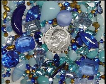 More than 100 Vintage Sapphire Aqua Blue Rhinestones Variety of Shapes Sizes Shades