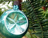 Vintage Peacock Blue Double Indent Star Christmas Ornament Late 1930s Shiny Brite