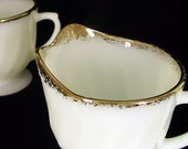 Retro Dishes Fire King ANNIVERSARY SWIRL Vintage White Sugar Bowl and Creamer Set with Gold Trim
