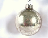 Vintage Small Silver, Shabby U.S.A.Christmas Ornament - bythewayside