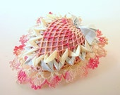 Vintage Handmade Heart Crochet in Pink and Blue