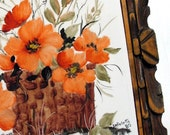 Vintage 1980's Hand Painted Peach Poppies in a Basket Trivet