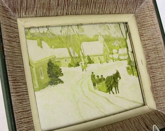2 Vintage Framed Pictures - Cottage Chic Small Town Scenes