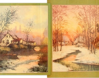 Vintage Framed Print - Winter Sunset Scenery Prints in Antiqued Gold Picture Frames, Set of 2