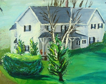 Vintage 1980's Artwork - The Farmhouse Painting by Russ Allison