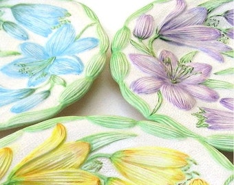 Retro Dishes - Vintage, Floral, Handpainted Salad Plates - Yellow, Purple and Blue Lilies