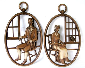 Vintage 1960's Wall Plaques - Syroco Colonial Couple