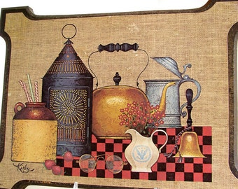 Vintage 1970's Kitchen Picture - Old Fashioned, Rustic Kitchen Still Life Art Wall Plaques, Set of Two