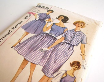 Vintage 1960's Blouse, Skirts, Jacket, Cumberbund Sewing Pattern, Simplicity 3862, Bust 36 Inches, Size 16