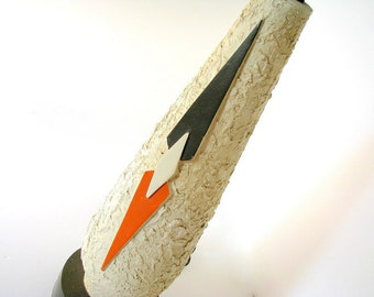 Vintage 1970's Mod, Cream Table Lamp with Hand Painted Orange and Brown Geometric Shapes