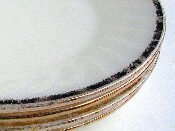 4 Vintage Mid Century White Fire King Gold Swirl Dinner Plates