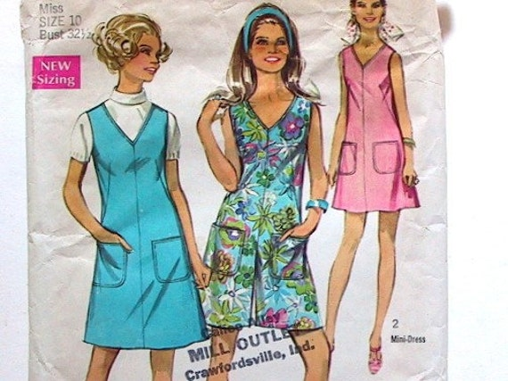 Jumper / Culottes Pattern Vintage 1969 Simplicity 8195 Bust 32.5 Inches
