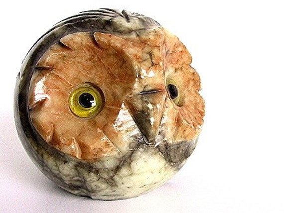 Vintage Owl Paperweight Carved Granite
