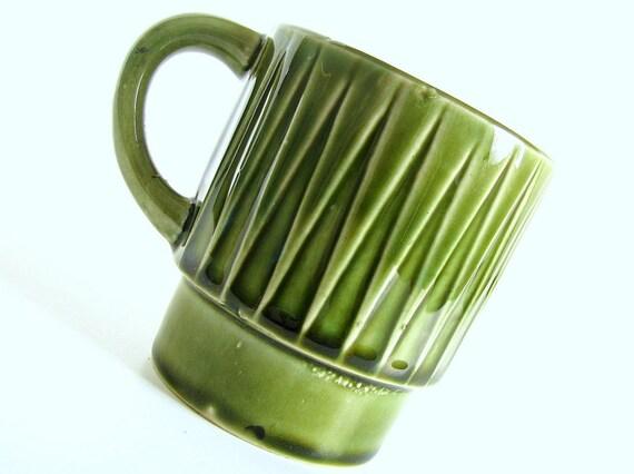 Green Japan Mug Vintage Triangle Coffee Cup