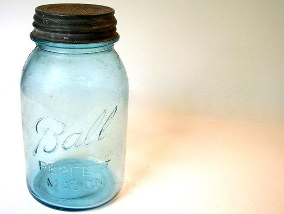 Blue Ball Canning Jar One Quart Vintage Glass Bottle 1920s