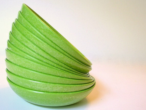 Retro Berry Bowls Melamine Dishes Vintage 1950s Branchell Color Flyte Spray Lime Set of 5