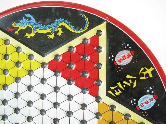 Vintage Metal Chinese Checker Game