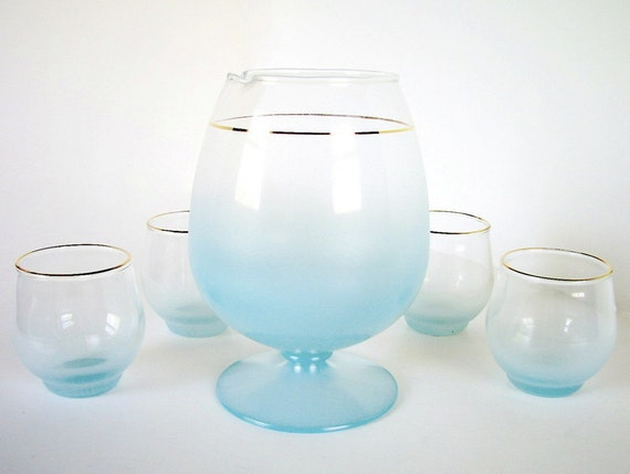 Vintage 1950's Frosted Aqua Blendo Footed Snifter and 5 Cocktail Glasses