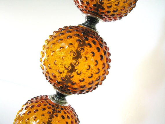 Retro Table Lamp Vintage 1970s Harvest Gold Hobnail Triple Bubble Light