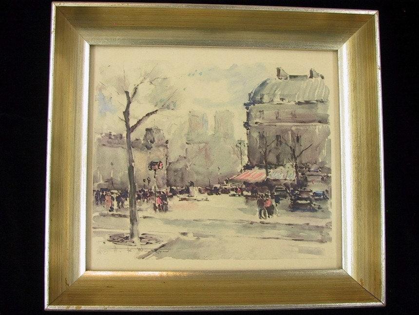 Vintage Gold Framed Paris France Art Prints Set Of 2