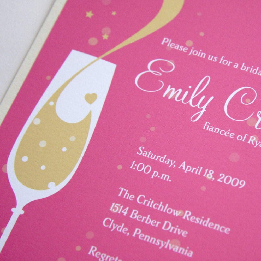 pink champagne custom bridal shower invitation