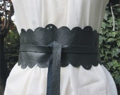 Lace In The Dark - Handmade Cut Out Dark Grey Italian Leather Obi Belt - Made to Order
