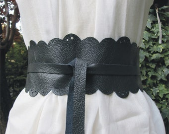 Lace In The Dark - Handmade Cut Out Italian Leather Obi Belt - Made to order