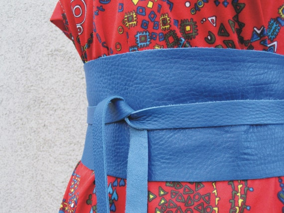 Electric Blue - Leather Obi Belt